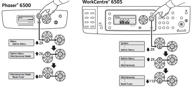 Replace Fuser Error, Restart Printer, Xerox Phaser 6500 / WC