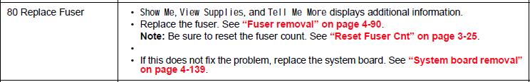 Lexmark X734de 80 Replace Fuser Message