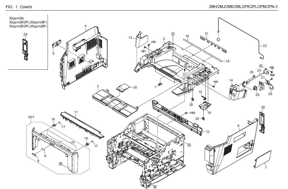 kyocera mita fs 1050 laser printer service repair manual parts list