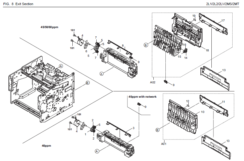 Kyocera    ECOSYS    FS   2100D Parts List and    Diagrams