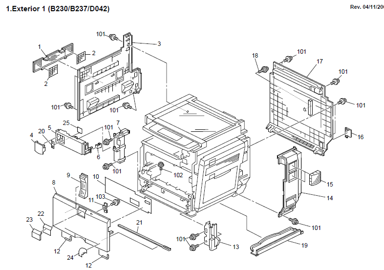 Gestetner Dsc530 Parts List And Diagrams
