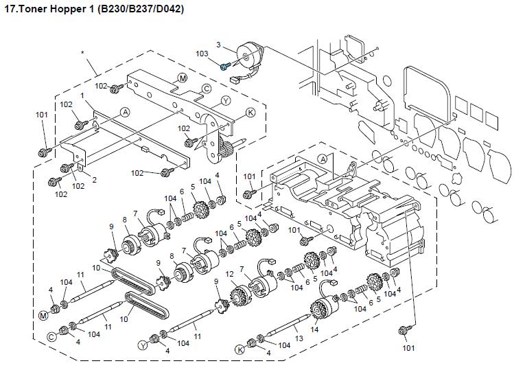 savin c2525 parts list and diagrams manual