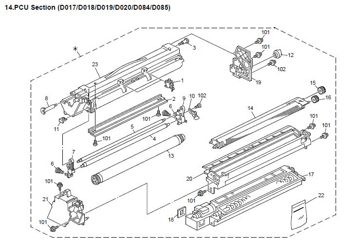 ricoh aficio mp2550 3350 2851 3351 service parts diagram