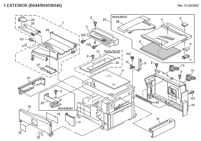 Lanier 5613, 5613F Parts List and Diagrams