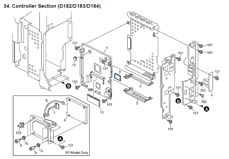 Ricoh Mp 3353 Parts List And Diagrams Manual