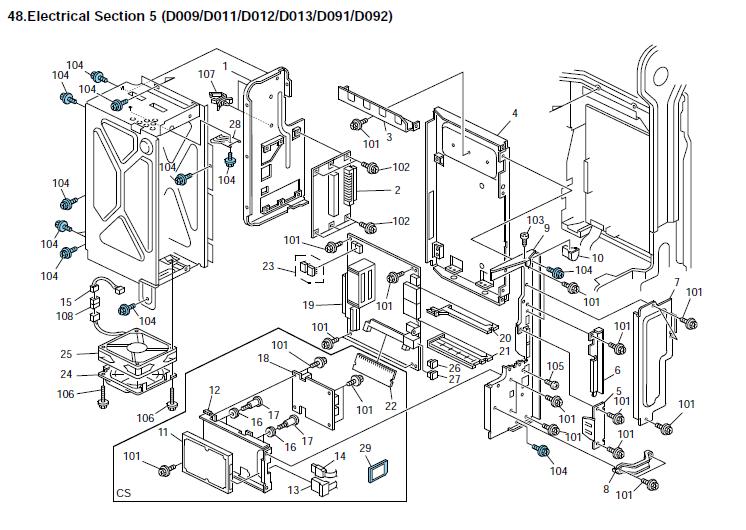 ricoh aficio mp 4000sp parts list and diagrams