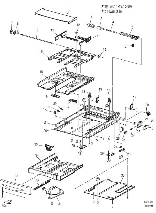 Xerox Phaser 4500 - 4510 Parts List 2.1 150-Sheet Paper Cassette