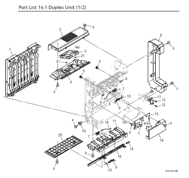 Xerox Phaser 6121MFP Part List 14.1 Duplex Unit (1/2)