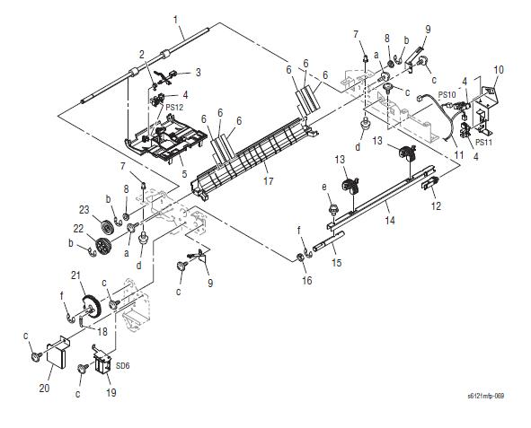 Xerox Phaser 6121MFP Part List 15.2 500-Sheet Tray (2/2)